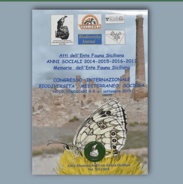 ATTI E MEMORIE Vol. XII 2014 - 2017 - Congresso Internazionale Biodiversità, Mediterraneo, Società _ Fronte