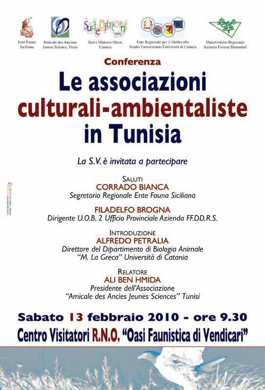 """13-02-2010: Noto - Centro Visitatori - Ecomuseo della R.N.O. """"Oasi Faunistica di Vendicari"""" Conferenza """"Le associazioni culturali-ambientaliste in Tunisia""""."""