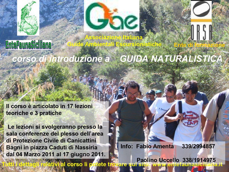 """Dal 4-03-2011 al 17-06-2011: Canicattini Bagni, Corso per introduzione a """"Guida Naturalistica"""""""