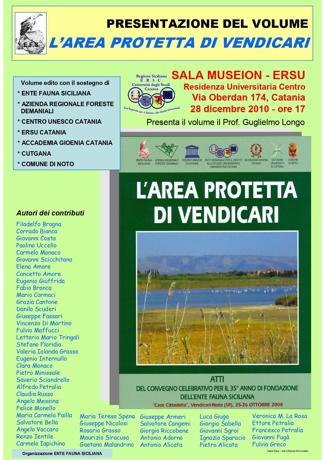 """Presentazione del volume """"L'AREA PROTETTA DI VENDICARI"""""""