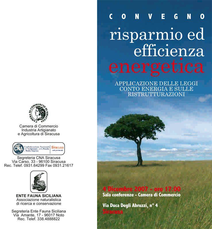 """4 dicembre 2007: Siracusa, Convegno su """"Risparmio ed efficienza energetica"""""""