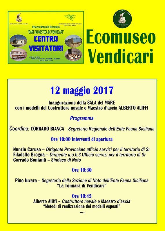 Ecomuseo/Centro Visitatori di Vendicari , Inaugurazione Sala del Mare