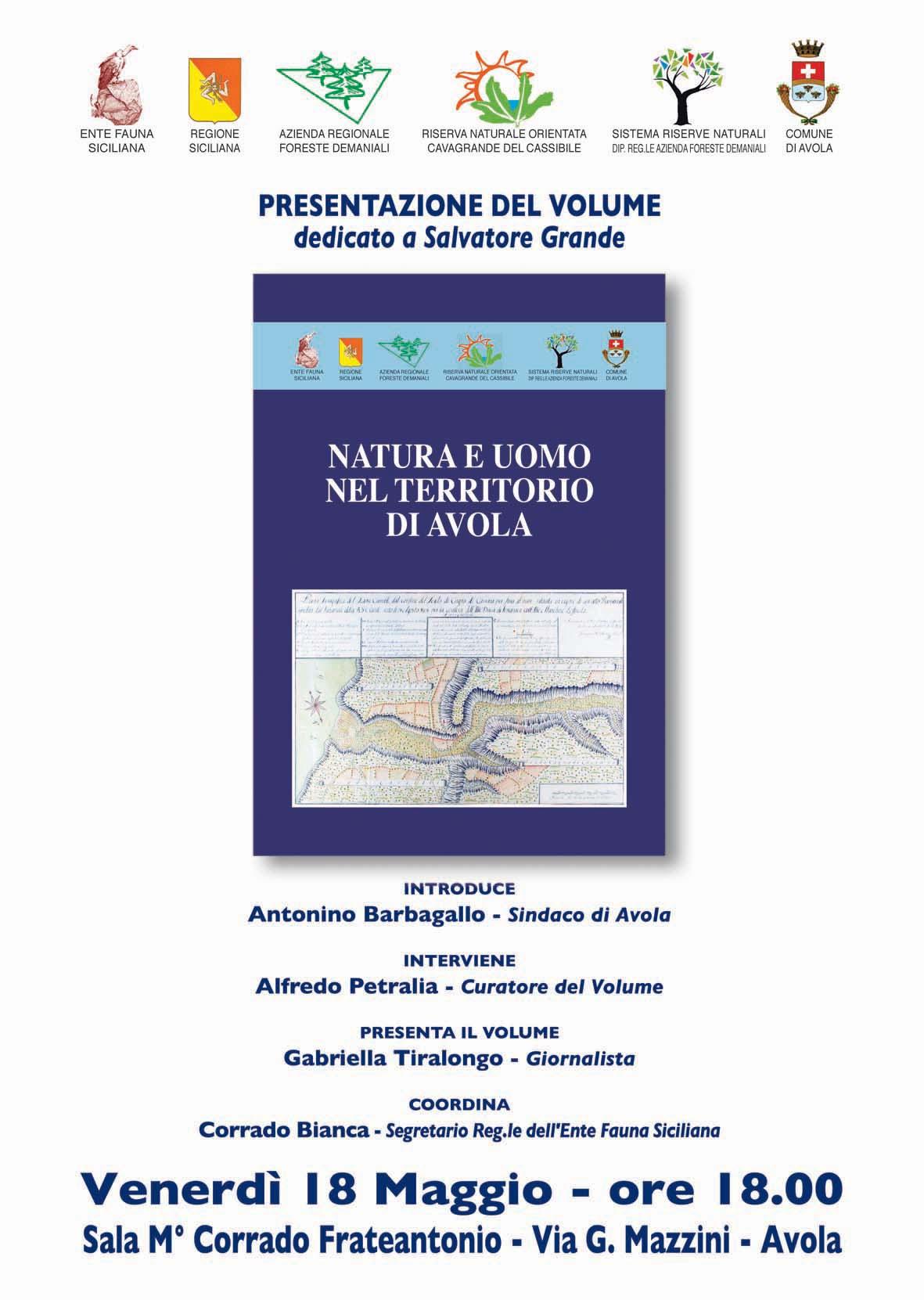 """18/05/2012: Avola – Presentazione del libro """"Natura e uomo nel territorio di Avola"""""""
