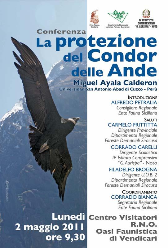 """02-05-2011: Noto - Centro Visitatori - Ecomuseo della R.N.O. """"Oasi Faunistica di Vendicari"""" Conferenza su """" La protezione del Condor delle Ande"""""""